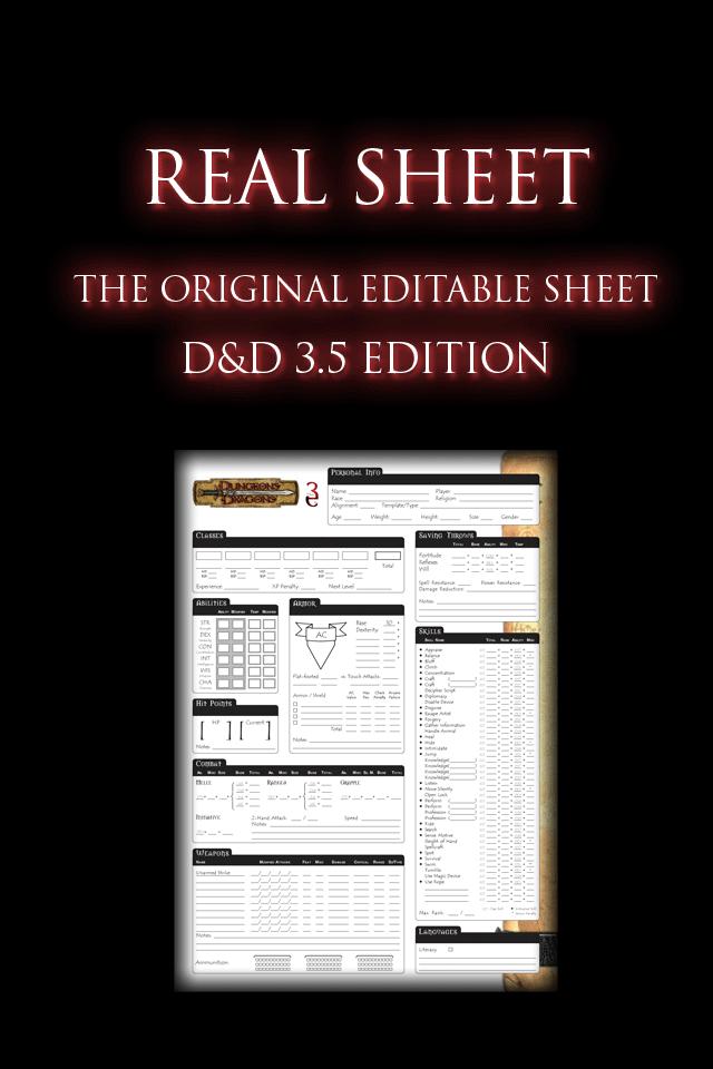 Screenshot Real Sheet: D&D 3.5 Edition